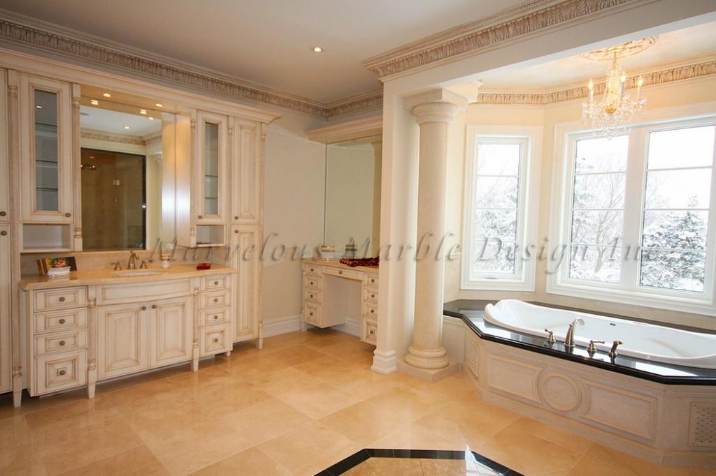 limestone columns in luxury bathroom